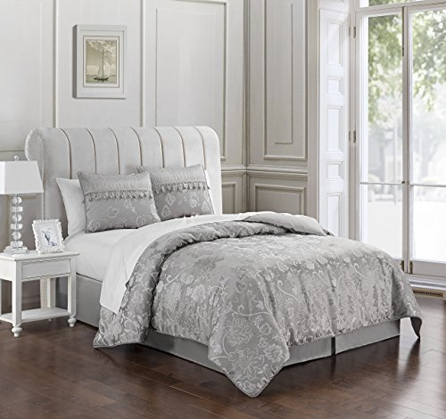 Marquis By Waterford Samantha Comforter Set, King, Platinum (Waterford Comforter)