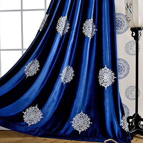 VOGOL 2 Pieces Vintage Flower Embroidered Curtains Soft Luxury Velvet Blackout Curtain for Bedroom & Living Room, 52x96, White Floral in Dark Blue