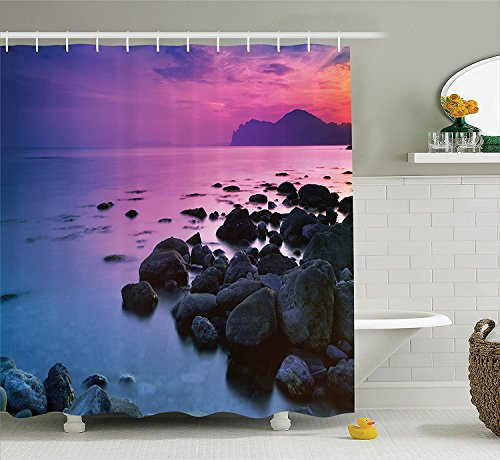 [Room Decorations Collection Sunset over a Rocky Coast Seashore Seaside Hill Honeymoon Vacation Resort Picture Polyester Fabric Bathroom Shower Curtain Set with Hooks Blue] (Vintage Pin Up Girl Costume Ideas)