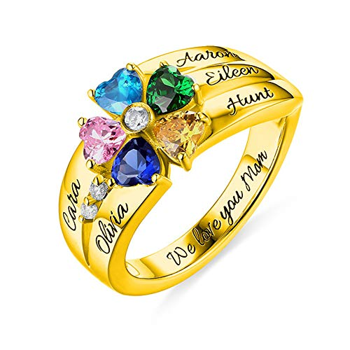 (Yandam Engraving Name Ring Personalized Heart Shape Birthstone Ring Mother's Day Ring(Gold-Plated-Base 10))