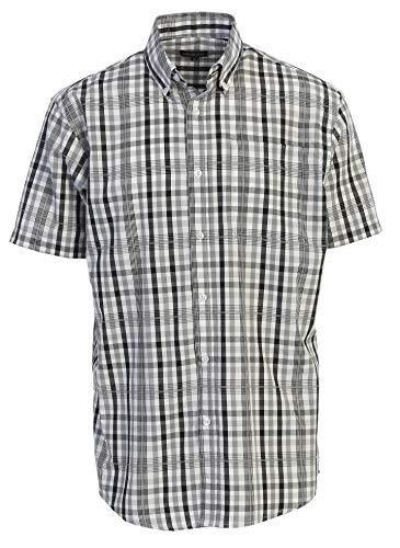 Gioberti Men's Plaid Short Sleeve Shirt, Black/White/Gray Checkered, Large