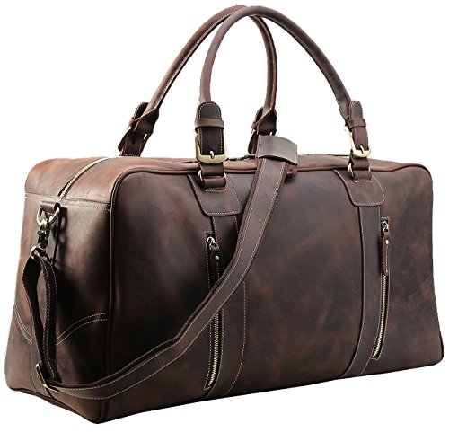 Polare Mens Vintage Leather Duffel Overnight Travel Duffle Weekender Bag (X-large 23.2'') by Polare
