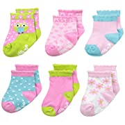 Little Me Baby-Girls 6 Pack Socks Happy Owl, Multi, 0-6 Months
