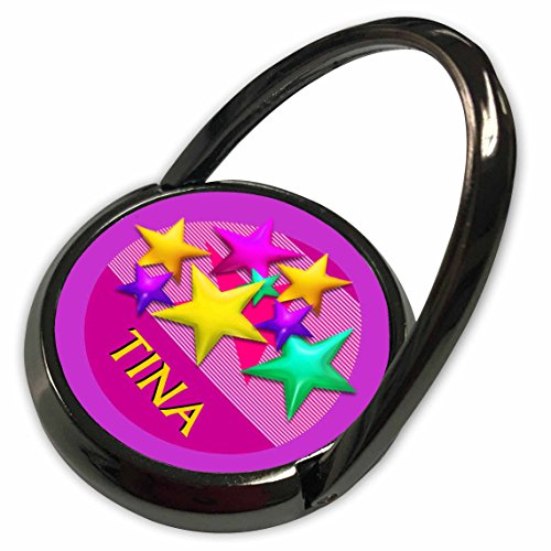 3dRose SmudgeArt Female Child Name Designs - Vibrant colored stars on a pink background with the name TINA - Phone Ring (phr_53049_1)