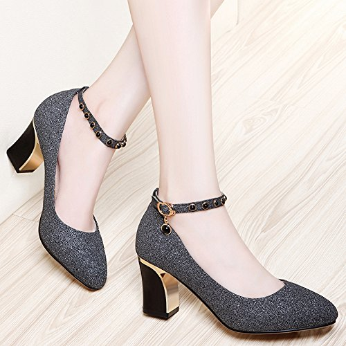 A Shoes Golden New 6Cm Spring With Single Pointed KPHY Shallow Shoes Match With All High Heels Shoes Buckle Mouth Coarse wqnSH0ItP