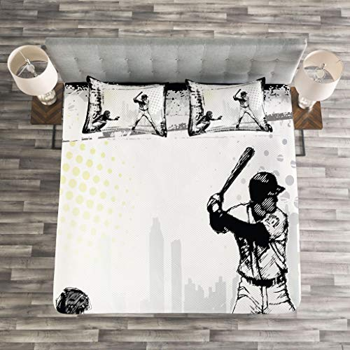 Lunarable Sports Bedspread, Baseball Themed American Sport Team Rustic Design Silhouette Illustration Print, Decorative Quilted 3 Piece Coverlet Set with 2 Pillow Shams, King Size, Black White