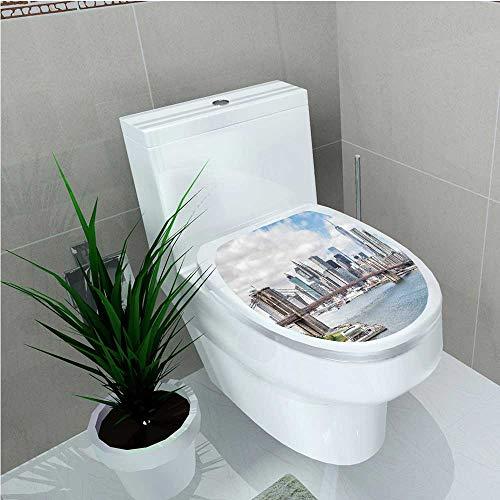 (Bathroom Toilet USA New York City Buildings and a Landmark Bridge Photo Sky Blue White W13 x)