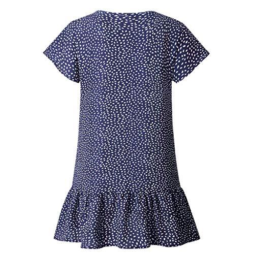 Casual Primavera Fiesta vestidos Vestido V Botón Noche De Vestidos Verano Ruffles Impresión Familizo Mini Azul Cóctel Mujer Mangas Cuello Sin Largos BCXqEw