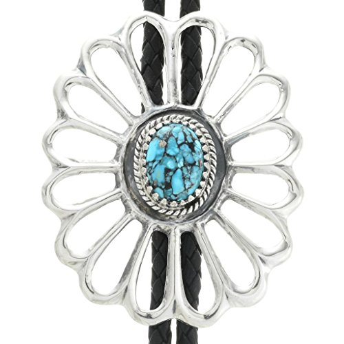 Spiderweb Turquoise Old Pawn Style Bolo Tie Large Sterling Sandcast Design 0634 ()