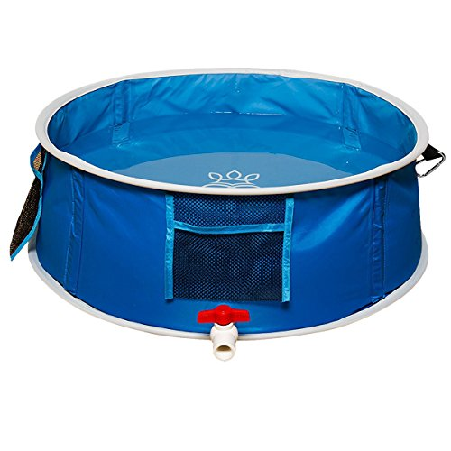 bouti1583 Pop Up Pet Swimming Pool Dog Cat Bathing Tub Portable Foldable Washing Basin Dia. 26