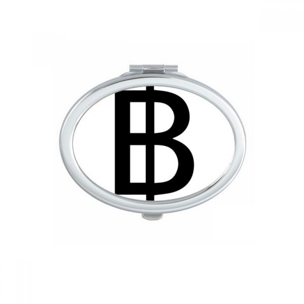 DIYthinker Currency Symbol Thai Baht Oval Compact Makeup Pocket Mirror Portable Cute Small Hand Mirrors Gift by DIYthinker