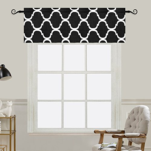 Melodieux Moroccan Fashion Room Darkening Rod Pocket Window Curtain Valance, 52 by 18 Inch, Black (1 Panel) (Kitchen Valances Black)