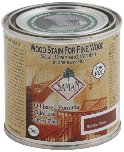 SamaN SAM-306-8 8-Ounce Interior Stain for Fine Wood for Seal, Stain and Varnish, Brazilian Cherry ()