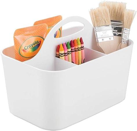 mDesign Cesta organizadora – Caja organizadora para material de manualidades y de costura: botones, tijeras, pinturas, lápices - Blanco: Amazon.es: Hogar