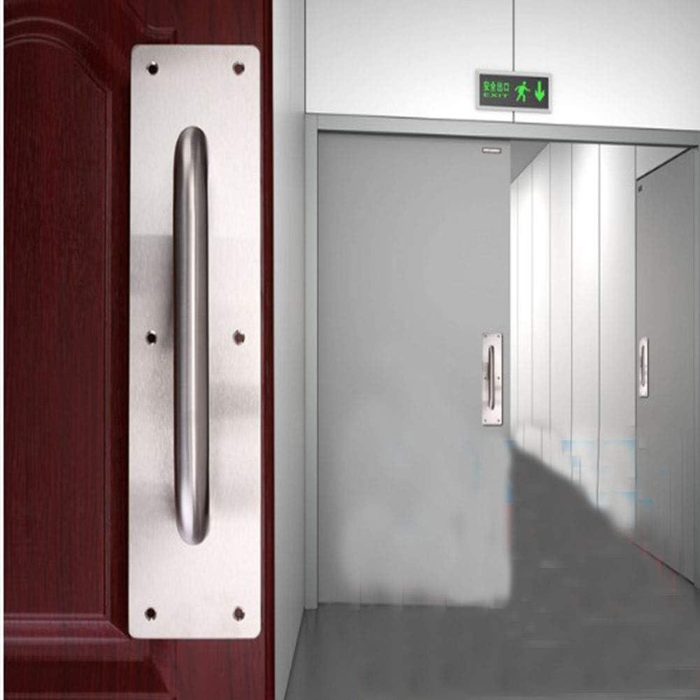 Tirador de puerta corredera, Tiberham de acero inoxidable resistente, tirador de puerta con placa trasera, tirador de puerta de inodoro, placa de madera para armario (300 x 80 mm): Amazon.es: Bricolaje y