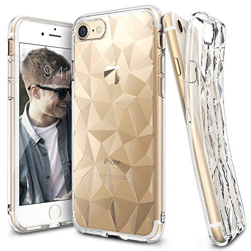 Price comparison product image iPhone 7 Case, Ringke [AIR PRISM] 3D Vogue Design Chic Ultra Rad Pyramid Stylish Diamond Pattern Flexible Jewel-Like Textured Protective TPU Drop Resistant Cover For Apple iPhone 7 – Clear