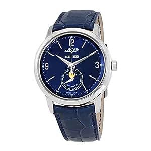 Vulcain - Reloj de pulsera hombre, piel, color azul