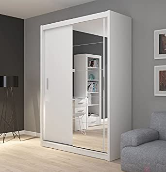 FADO White Mirrored 2 Door Wardrobe Closet With Sliding Doors Mirror Shelves Hanging Clothes Rail Bedroom