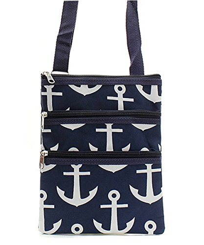 N.Gil Nautical Anchor Print Canvas Small Messenger Bag - (Print Canvas Cross Body)