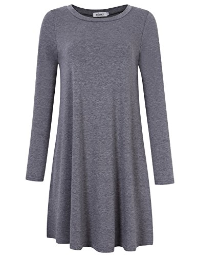 Price comparison product image MISSKY Women's Round Neck Plain Knee-Lenght Long Sleeve Simple Loose T Shirt Casual Dress Grey L