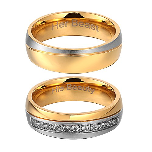 Bishilin Wedding Rings 2 Pcs His Beauty Her Beast Ring Titanium Couple Rings for Wmen Couple Ring W8+M7