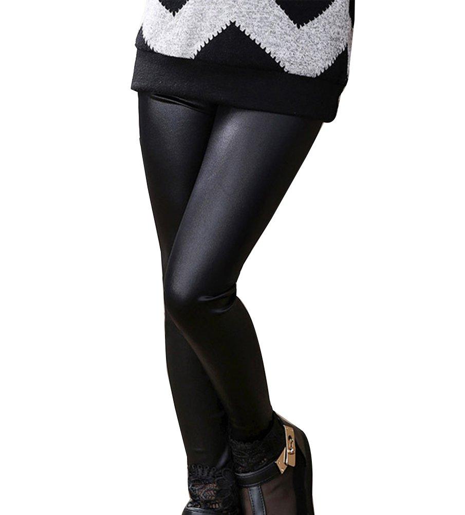 Guiran Ni/ña Leggins PU Cuero Artificial Leggings Cintura El/ástica Pantalones De L/ápiz Jeggings