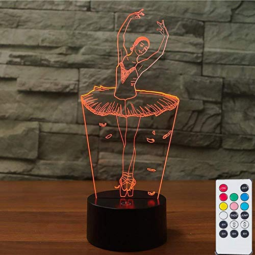 Ballet Dancing Girl 3D Lamps Nightlight, Remote 7 Colors Touch Switch Table Desk Lamps Holiday Xmas Birthday Toys Gifts for Girls Mothers Nursery Kids.