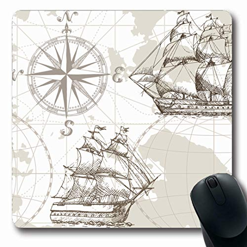 Ahawoso Mousepads Pattern Nautical Sea Map Vintage Old Ocean World Sepia Travel Design Sailboat Oblong Shape 7.9 x 9.5 Inches Non-Slip Gaming Mouse Pad Rubber Oblong Mat