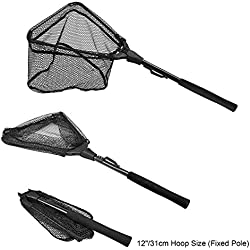 """PLUSINNO Fishing Net Fish Landing Net, Foldable Collapsible Telescopic Pole Handle, Durable Nylon Material Mesh, Safe Fish Catching or Releasing (12"""")"""