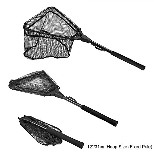 "PLUSINNO Fishing Net Fish Landing Net, Foldable Collapsible Telescopic Pole Handle, Durable Nylon Material Mesh, Safe Fish Catching or Releasing (12"")"