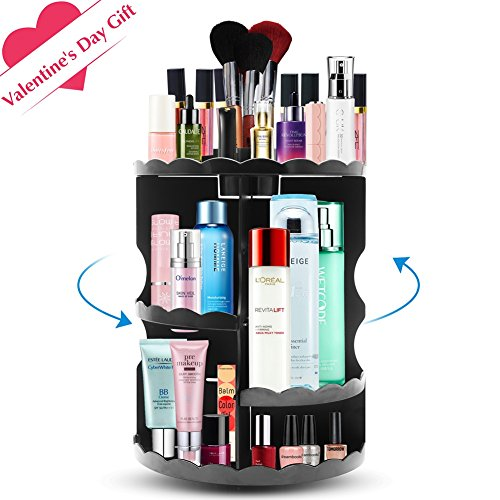 PlusMart Makeup Organizer, Cosmetic Organizer Adjustable,360 Degree  Rotating Makeup Organizer Countertop Makeup Storage Box Black Large  Capacity For Brushes ...
