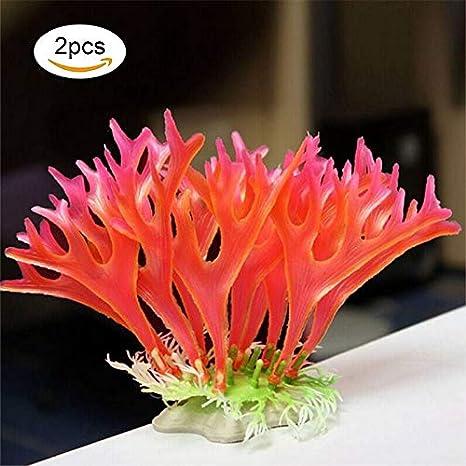 Passica Adorno para acuario (2 piezas), diseño de plantas artificiales de plástico: Amazon.es: Productos para mascotas