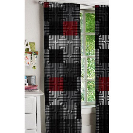 red and gray curtains - 1