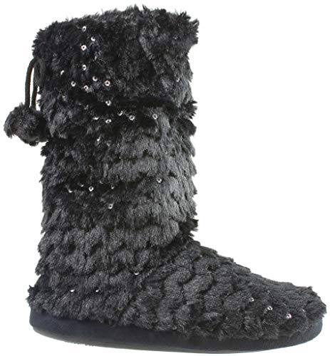 COZEEZ Women's Bootie Slipper with Pom Poms and Metallic Sequin, House Slippers, Black, Size 9-10 ()