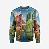 Men's Crewneck Ride The Wave Pullover Sweater