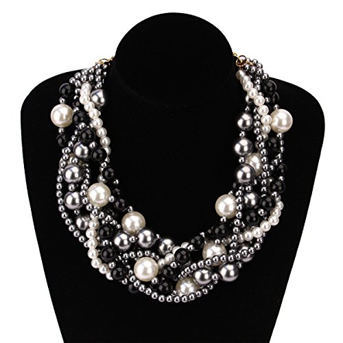 - MeliMe Women's Imitation Pearl Twisty Chunky Bib Necklace Pearl Chokers for Wedding Party