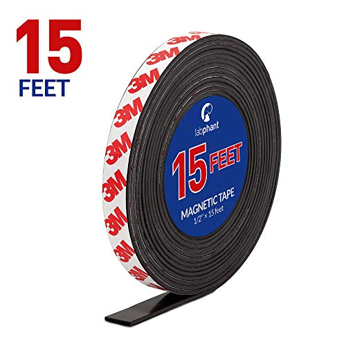 Magnetic Tape, 15 Feet Magnet Tape Roll (1/2'' Wide x 15 ft Long), with 3M Strong Adhesive Backing. Perfect for DIY, Art Projects, whiteboards & Fridge Organization (Flexible Magnetic Tape)