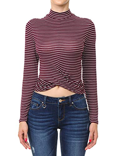 (Instar Mode Women's Striped Twist-Front Hem Mock Neck Long Sleeve Crop Top Burgundy/Off-White S)