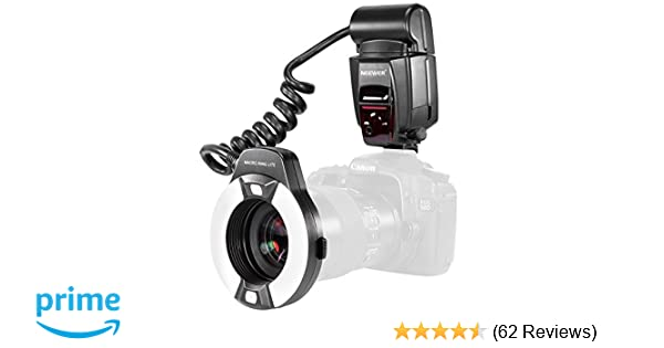 Neewer Macro TTL Ring Flash Light with LED AF assist lamp for Canon E-TTL  TTL Cameras / such as Canon EOS 5D Mark II EOS 6D EOS 7D EOS 70D EOS 60D  EOS