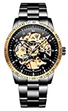 Men's Watch Luminous Skeleton Dial Gears Visible Classic Automatic Mechanical Watch with Original Box (Gold Bezel/Black)