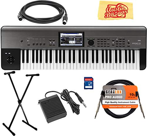 Korg KROME-EX 61-Key Music Workstation Keyboard & Synthesizer Bundle with Keyboard Stand, SD Card, Instrument Cable, Midi Cable, Deluxe Sustain Pedal, and Austin Bazaar Polishing Cloth