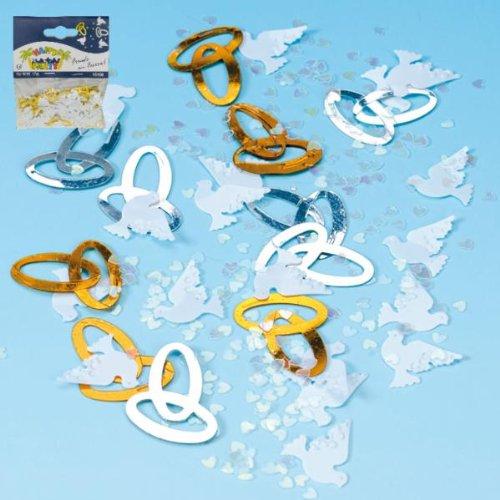 Konfetti: Ringe, Tauben und Herzen als Hochzeitsdeko
