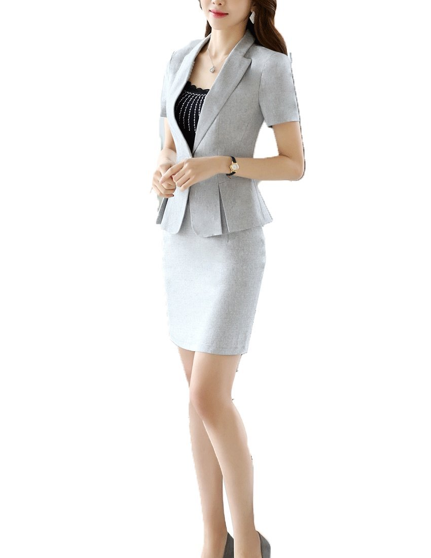 MFrannie Women's Professional One-Button Blazer Jacket and Skirt Suit Set