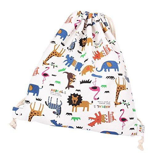 Da.Wa Bolso con Cord/ón Lona Mochila Backpack Deporte Moda Ocio Bolso de Viaje,Patr/ón de Animales de Colores