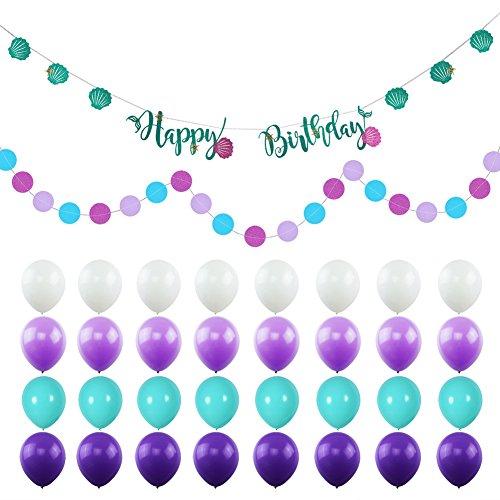 KUMEED Mermaid Birthday Party Decorations White Purple Sea Blue Balloons Happy Birthday Banners Polka Dot Garland for Baby Shower Decor (Mermaid Birthday Party Ideas)