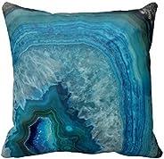 Blue Geode Crystal Design Cushion Throw Pillow Case