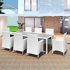 Set de mueble del bejuco blanco 8 sillas + 1 mesa