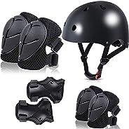 FINGER TEN Kids Adjustable Helmet Suitable for Ages 3-8 Years Toddler Boys Girls, Sports Protective Gear Set K