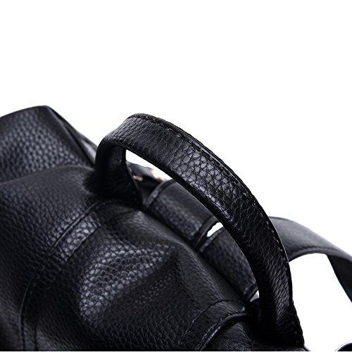 Fleur Fille Black Backpacks Motif École Imprimer De Litchi Femmes Casual Cuir PU tOXUxSwqS