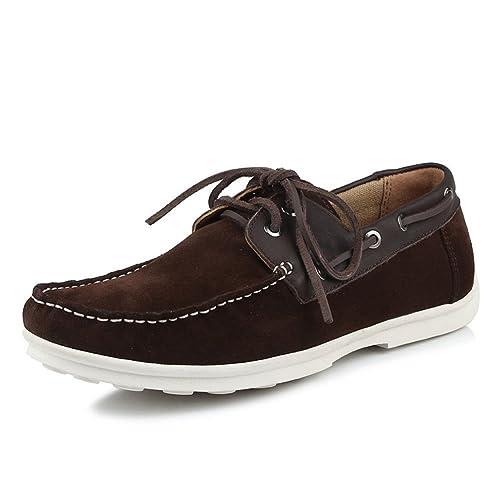 Zapatos Casuales de Suela de Cuero Suave de los Hombres Mocasines Zapatos de tacón Plano marrón mocasín: Amazon.es: Zapatos y complementos
